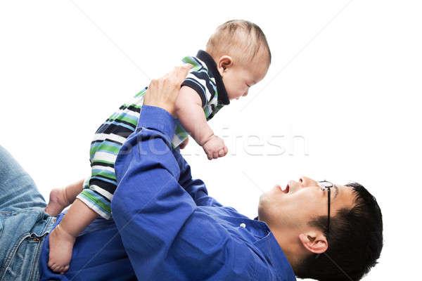 Сток-фото: азиатских · отцом · сына · изолированный · выстрел · ребенка