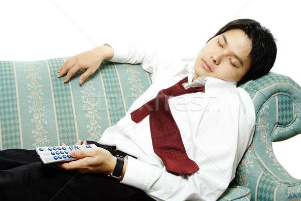 Foto stock: Adormecido · empresário · sofá · homem