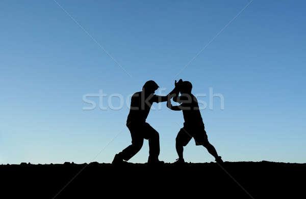 Vechtsporten twee mannen oefenen top berg silhouet Stockfoto © aremafoto