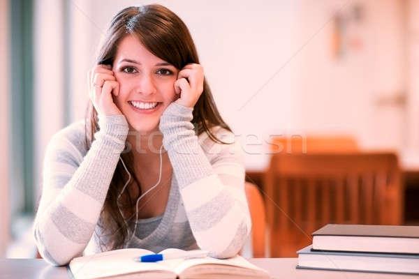 Stockfoto: Halfbloed · student · portret · campus · gelukkig