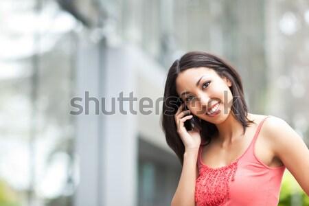 Stockfoto: Asian · student · telefoon · shot · praten · vrouw