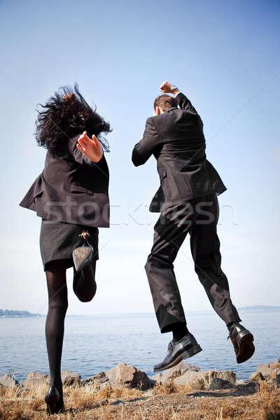Сток-фото: счастливым · деловые · люди · выстрел · два · бизнеса · коллеги