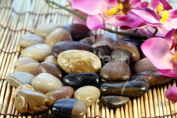 Zen kövek természet kő bambusz ázsiai Stock fotó © aremafoto