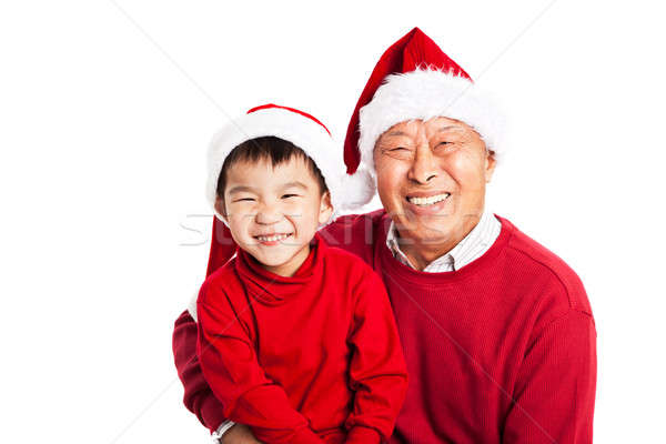 Asian grand-père célébrer Noël petit-fils coup Photo stock © aremafoto