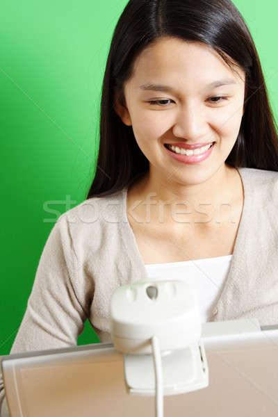 Işkadını iş dizüstü bilgisayar web defter çalışma Stok fotoğraf © aremafoto
