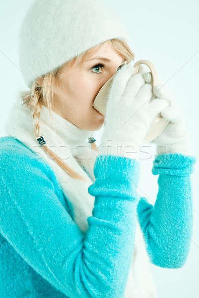 девушки питьевой кофе красивой кавказский горячей Сток-фото © aremafoto