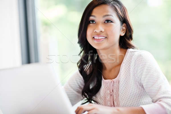 Stockfoto: Asian · student · campus · shot · werken · laptop