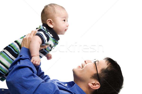 Сток-фото: азиатских · отцом · сына · изолированный · выстрел · отец · играет