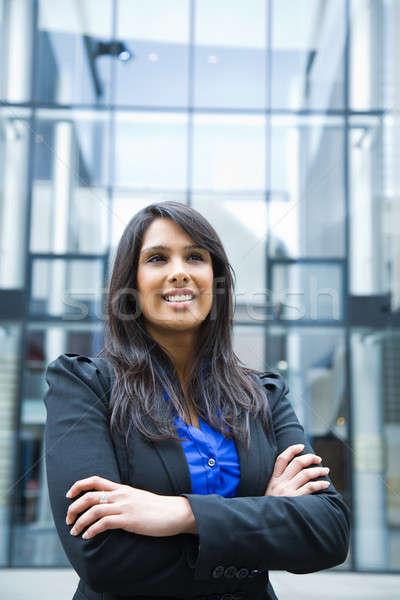 Stockfoto: Indian · zakenvrouw · shot · glimlachend · outdoor · meisje