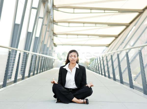 黒 女性実業家 瞑想 ショット 美しい 少女 ストックフォト © aremafoto