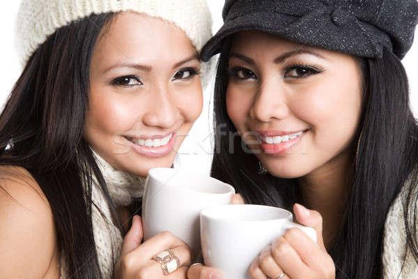 Asian women drinking coffee Stock photo © aremafoto