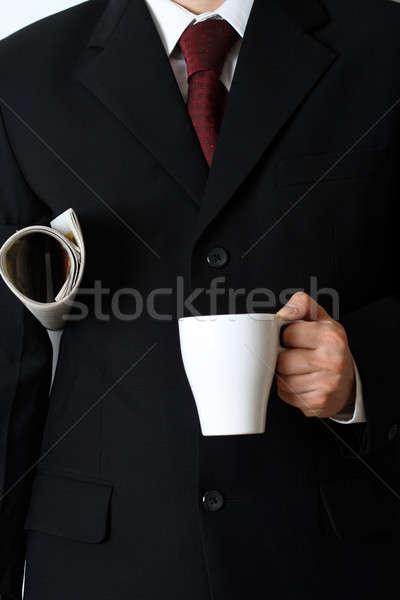 Foto stock: Empresario · periódico · taza · café · trabajo · beber