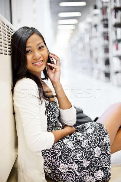 Foto stock: Asia · estudiante · teléfono · tiro · hablar · belleza