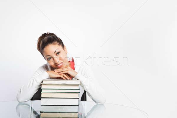 Gyönyörű főiskolai hallgató lövés fekete tanul nő Stock fotó © aremafoto