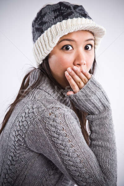 Surprised beautiful asian woman Stock photo © aremafoto