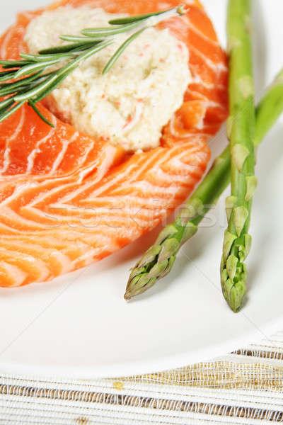 Сток-фото: фаршированный · лосося · спаржа · сторона · рыбы · обеда