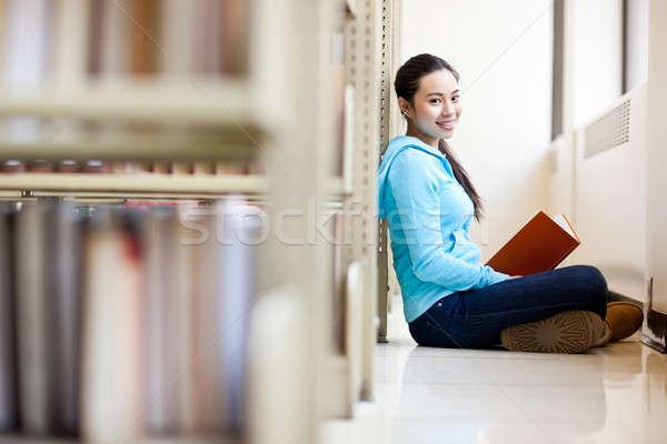 アジア 大学生 肖像 勉強 ライブラリ 女性 ストックフォト © aremafoto