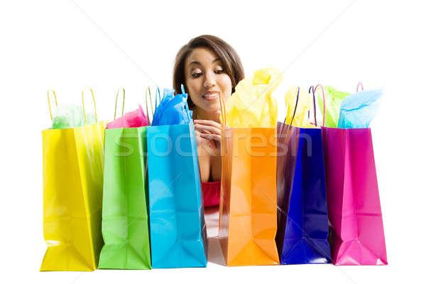 Stok fotoğraf: Alışveriş · siyah · kadın · yalıtılmış · atış · el