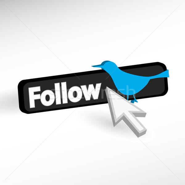 Kék madár ikon társasági plusz jel vektor Stock fotó © ArenaCreative