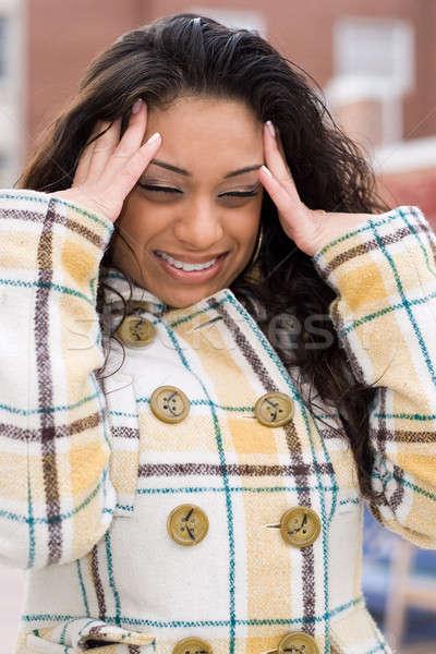 Yoğun baş ağrısı kadın kız eller el Stok fotoğraf © ArenaCreative