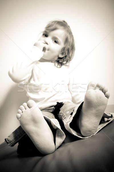 Kisgyerek láb közelkép közelkép mezítláb kopott Stock fotó © ArenaCreative