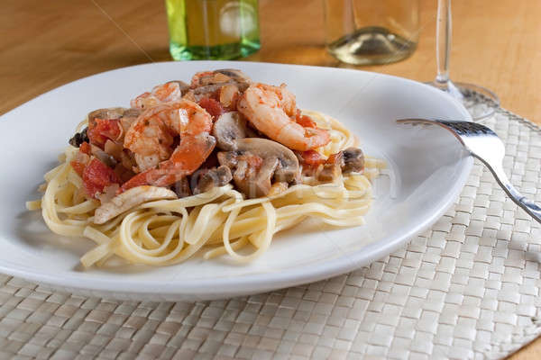 Stock photo: Shrimp with Pasta