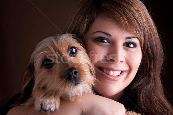 Kadın evcil hayvan köpek genç kadın 20s sevimli Stok fotoğraf © ArenaCreative