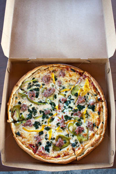 Especialidade combinação pizza fresco caseiro extra Foto stock © ArenaCreative