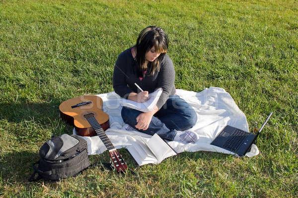 Cantante canción escritor jóvenes femenino guitarra Foto stock © ArenaCreative