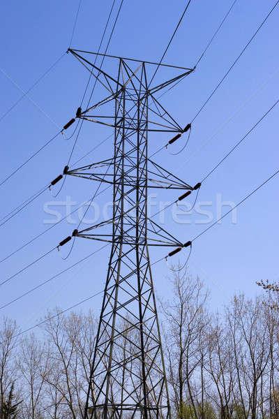 Magas távvezeték fényes kék ég technológia keret Stock fotó © ArenaCreative