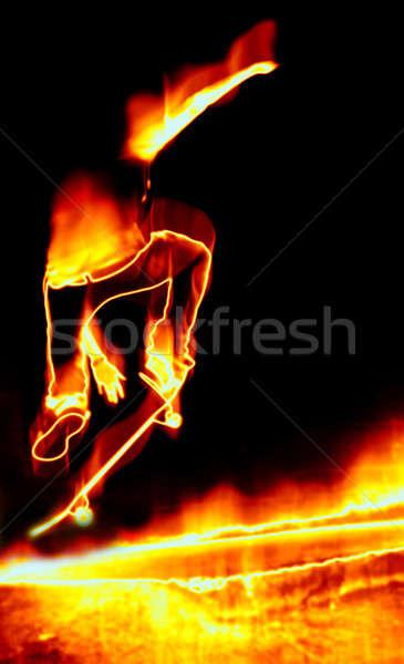 Skateboarder On Fire Stock photo © ArenaCreative