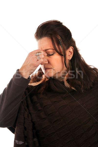 Frau Migräne Kopfschmerzen heraus aussehen Stock foto © arenacreative