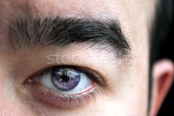 Mundo globo del ojo primer plano ojo ceja tierra Foto stock © ArenaCreative