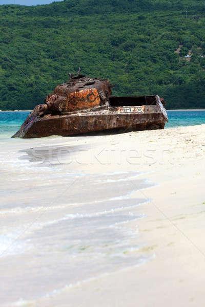Puerto Rico flamenco tengerpart tank öreg rozsdás Stock fotó © ArenaCreative