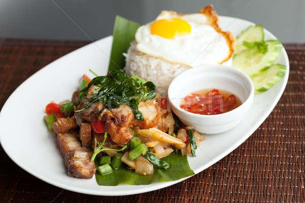 Taylandlı domuz eti sahanda yumurta geleneksel yemek Stok fotoğraf © ArenaCreative
