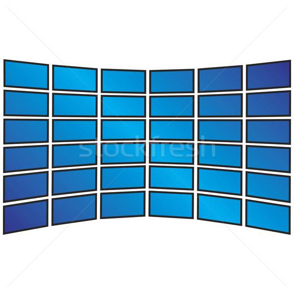 Wall of Widescreen HDTVs Stock photo © ArenaCreative