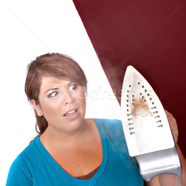 Strijken problemen jonge vrouw home naar huishouden Stockfoto © ArenaCreative