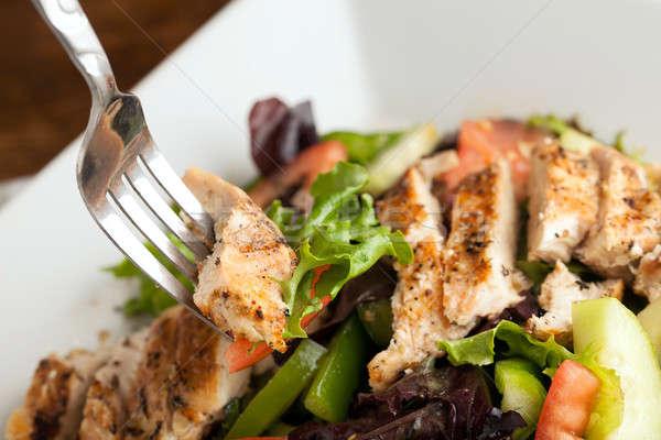 Gegrilde kip salade vers bereid chef stijl Stockfoto © ArenaCreative