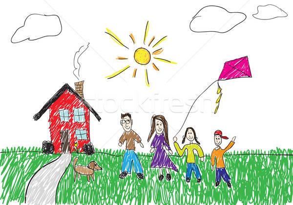 Kinderachtig tekening familie permanente home gelukkig Stockfoto © ArenaCreative