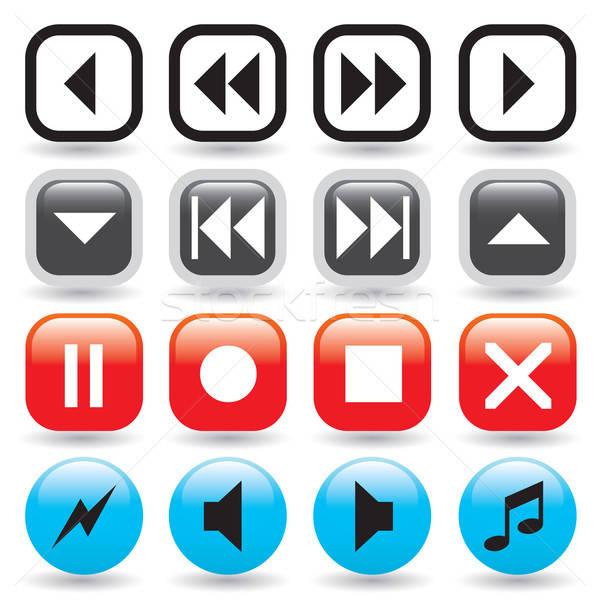Médias joueur boutons ensemble web Photo stock © ArenaCreative