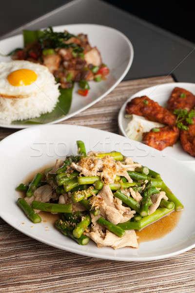 Сток-фото: куриные · спаржа · тайский · блюд · подготовленный
