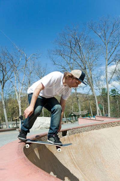 скейтбордист падение чаши Skate парка действий Сток-фото © ArenaCreative