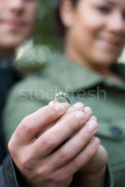 Jovem comprometido casal feliz diamante Foto stock © ArenaCreative
