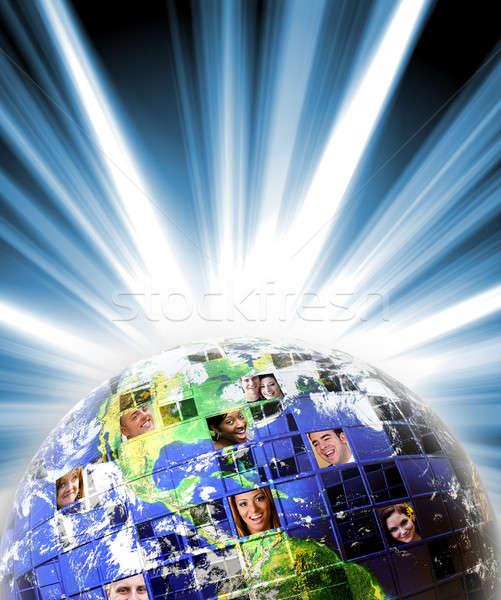 Globale wereldwijd netwerk mensen geïllustreerd montage Stockfoto © ArenaCreative