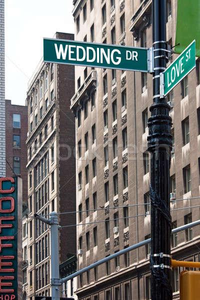 Сток-фото: свадьба · любви · улице · признаков · знак · пост