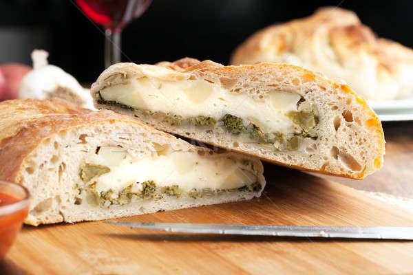 Töltött kenyér házi készítésű brokkoli krumpli fokhagyma Stock fotó © arenacreative