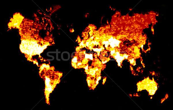 Fiery World Map Illustration Stock photo © ArenaCreative