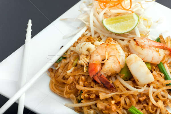 Seafood Pad Thai Fried Rice Noodles Stock photo © ArenaCreative