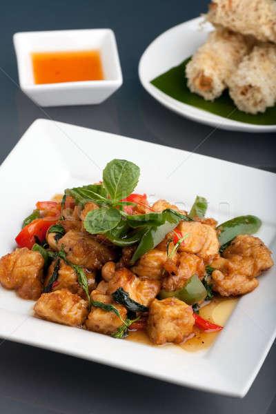 тайская еда риса свежие жареный Тофу Сток-фото © ArenaCreative