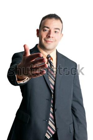 деловой человек рукопожатие дружественный приветствие стороны из Сток-фото © arenacreative